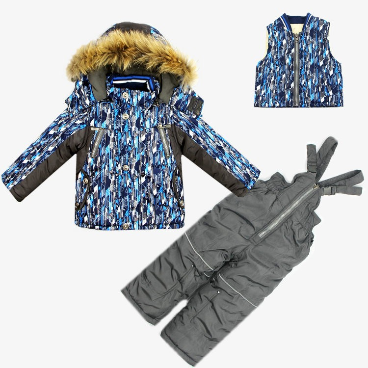 Детская зимняя одежда задает boysski костюм спортивной одежды набор малышей одежду ветер доказательство пальто шерсть жилет комбинезон 3шт