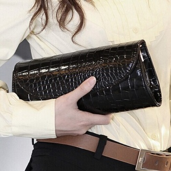 Drop Shipping New Fashion Handbag Women Patent Leather Evening Party Bag Crocodile Chain Clutch Purse hot sale