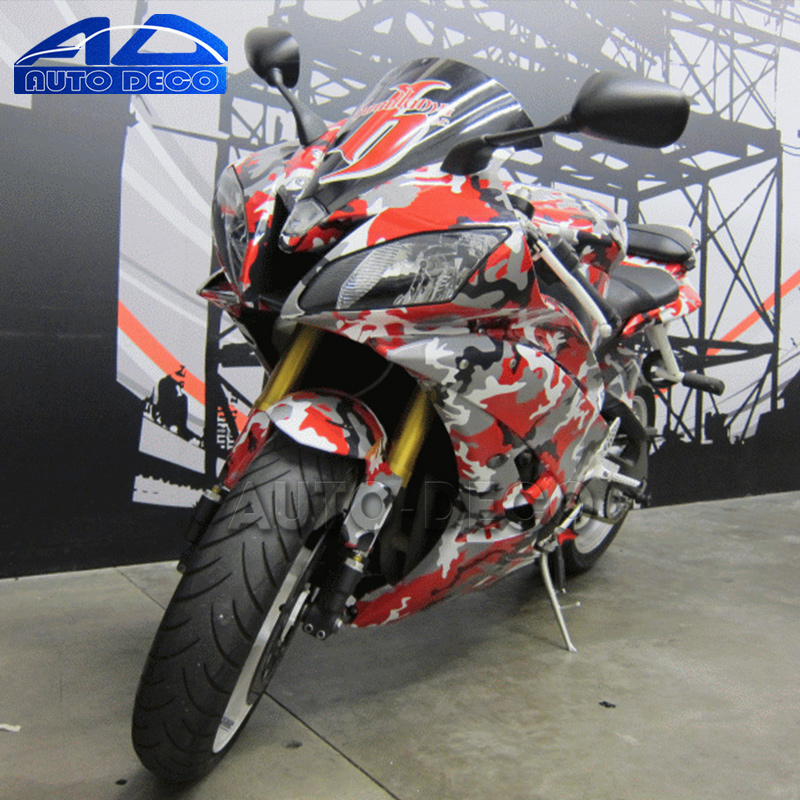 Camouflage Vinyl Scooter Car Motocycle Wrap Matte Black White Red Camo Film Sheet DIY Styling Graphic Stickers(China (Mainland))