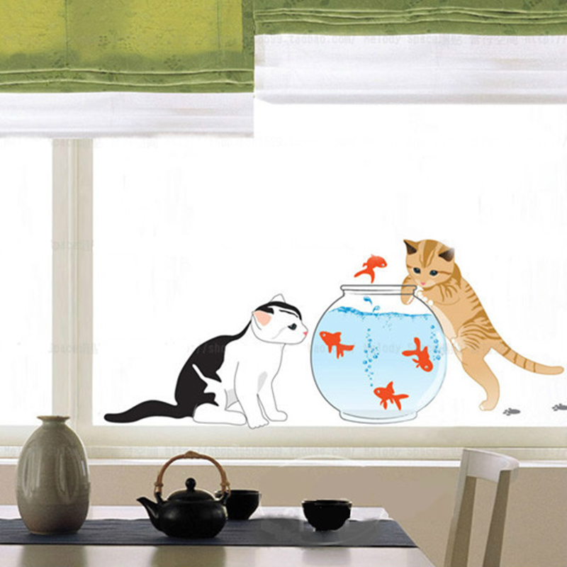 buy cat fish tank diy cartoon children 39 s room bedroom background stickers glass. Black Bedroom Furniture Sets. Home Design Ideas