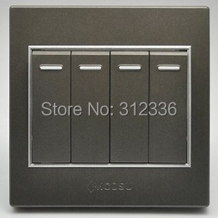 free shipping wall switch four on single control wall switch coffee color(China (Mainland))