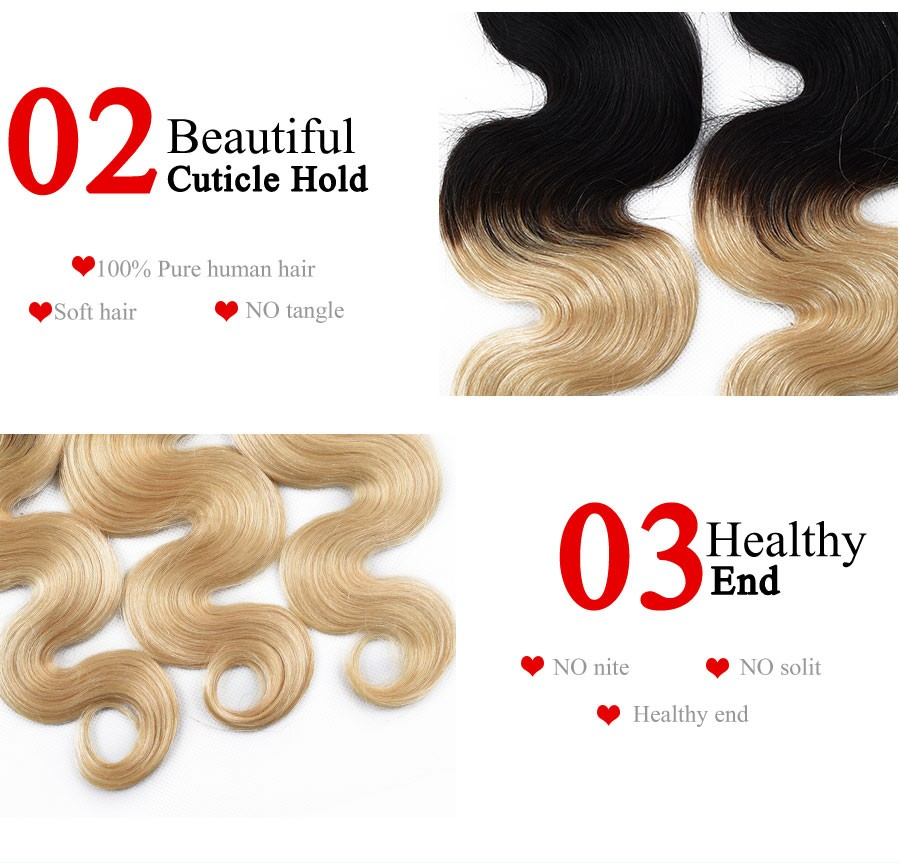 Grade 7A Ombre Malaysian Virgin Hair Body Wave 1B613 Platinum Blonde 2 Tone Ombre Hair Extensions Malaysian Body Wave Human Hair