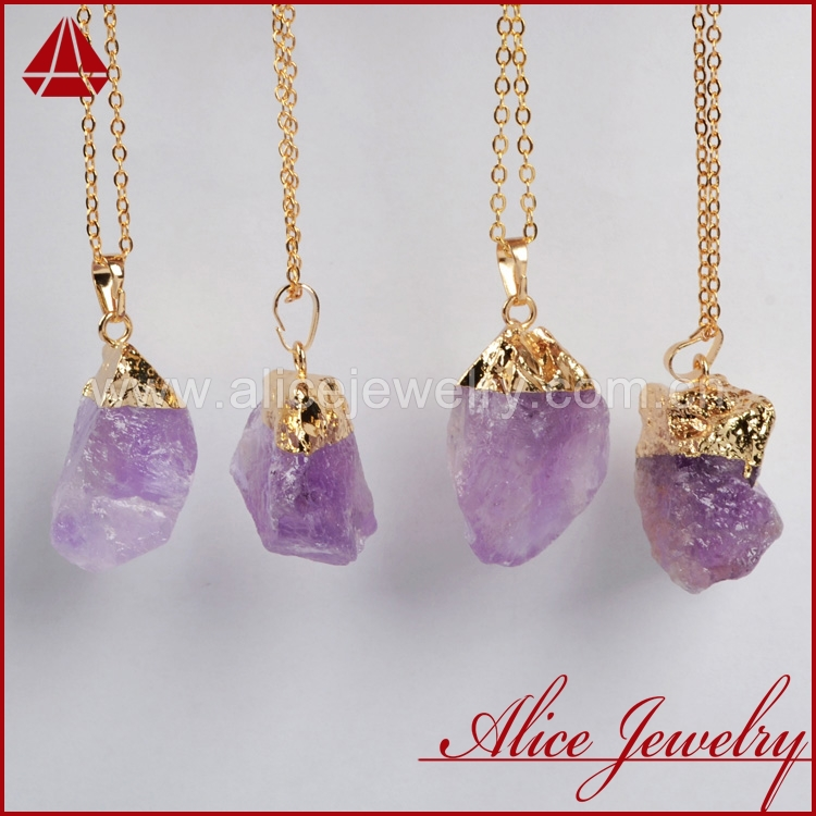 Natural Amethyst Golden Necklace  Rough Quartz Druzy Necklace Freeform Raw Amethyst Jewelry NG65
