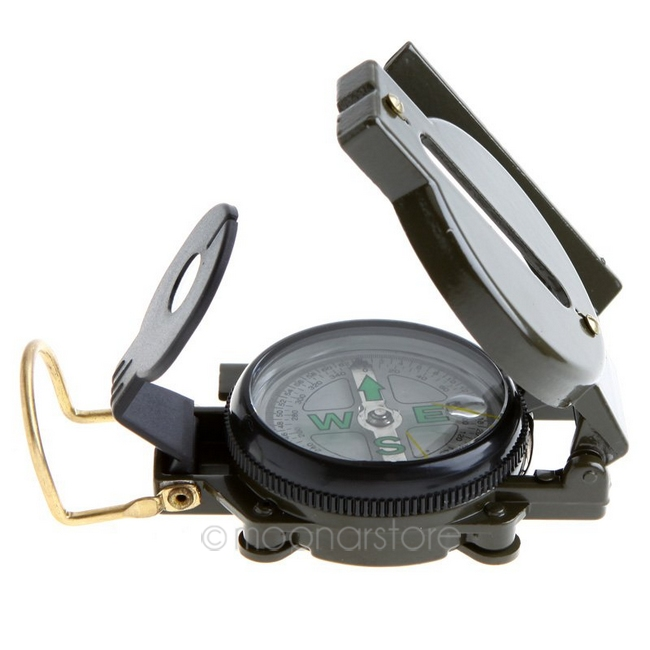 Mini Military Camping Marching Lensatic Compass Magnifier Army Green FreeShipping Wholesale(China (Mainland))