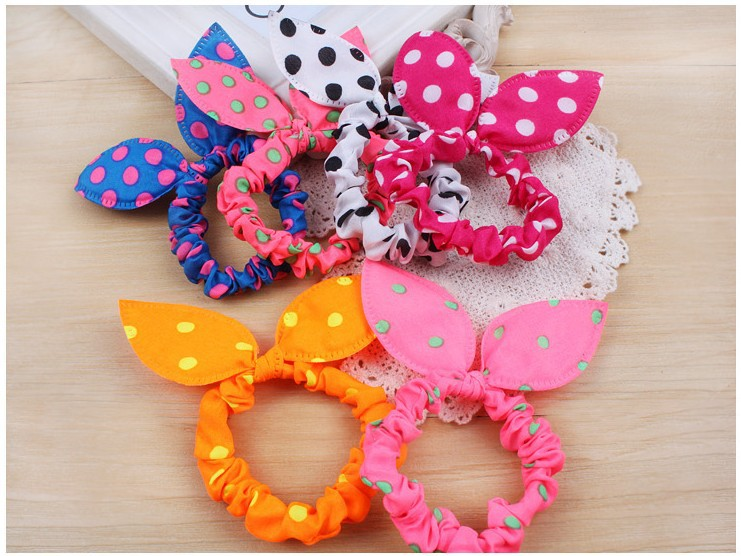 1pcs Fashion Rabbit Ears Hair Tie Polka Dot Elastic Hair Rope Band Ponytail Holder Hair Accesories Gum for Hair Scrunchy(China (Mainland))