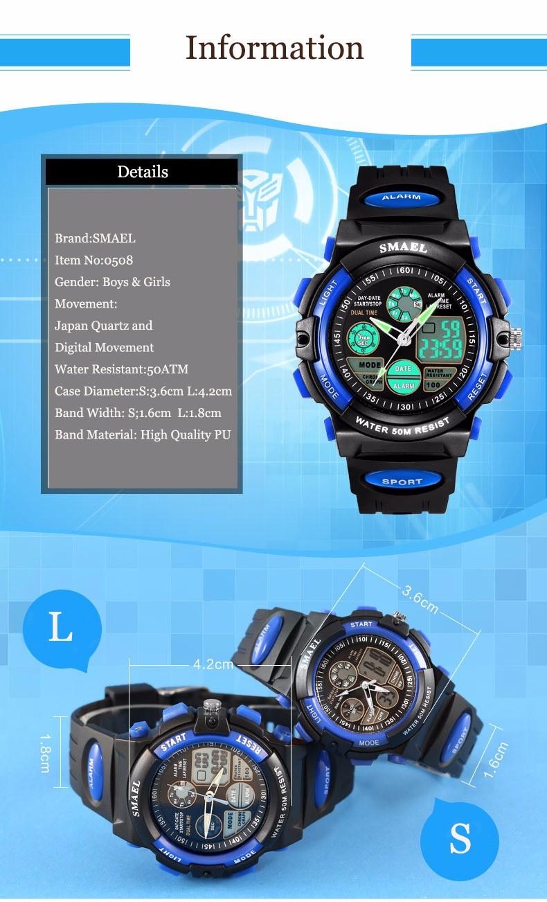 Дети Цифровые Часы Спортивные Часы LED Кварц Сигнализация Секундомер Час Водонепроницаемый Платье Часы детская Ночь Света функции