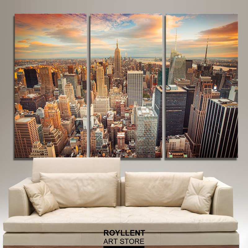 city picture canvas painting modern wall art painting for living room