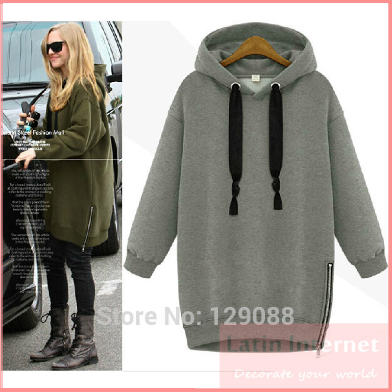 2015 Winter Autumn Fashion Women Long sleeve Hoodie Cardigans Coat Women's Casual Hoody Green Gray SportWear Track Sweatshirt - Latin Internet Station store