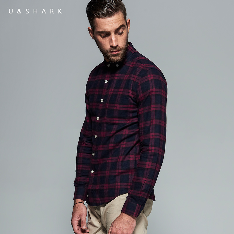 High quality long sleeve red flannel plaid shirt brand men for How to wear men s flannel shirts