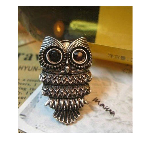 IG Wholesale New Fashion Unique Adjustable Vintage Retro Nickel Silver Pewter Owl Ring(China (Mainland))