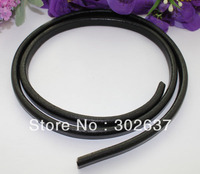 1 Meter of 100% Genuine Black Cow Leather Cord 10x6mm #22513 FREE SHIPPING