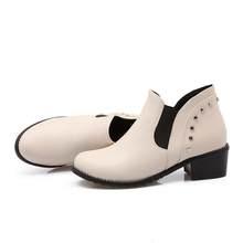 MoonMeek nuovo arriva caldo rivetto stivaletti donna primavera autunno donne scarpe comode unico tacco basso scarpe più il formato 33-47(China)