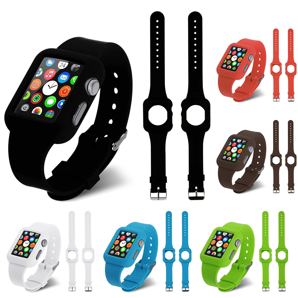 Soft Silicone Skin Watch Band Strap Cover For Apple Watch Case 38mm/42mm For Apple Watch Case 38mm/42mm Free Shipping(China (Mainland))