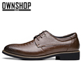 Men Shoes Genuine Leather Brown Men Oxford Shoe Business Office Dress Wedding Flats Men s Casual