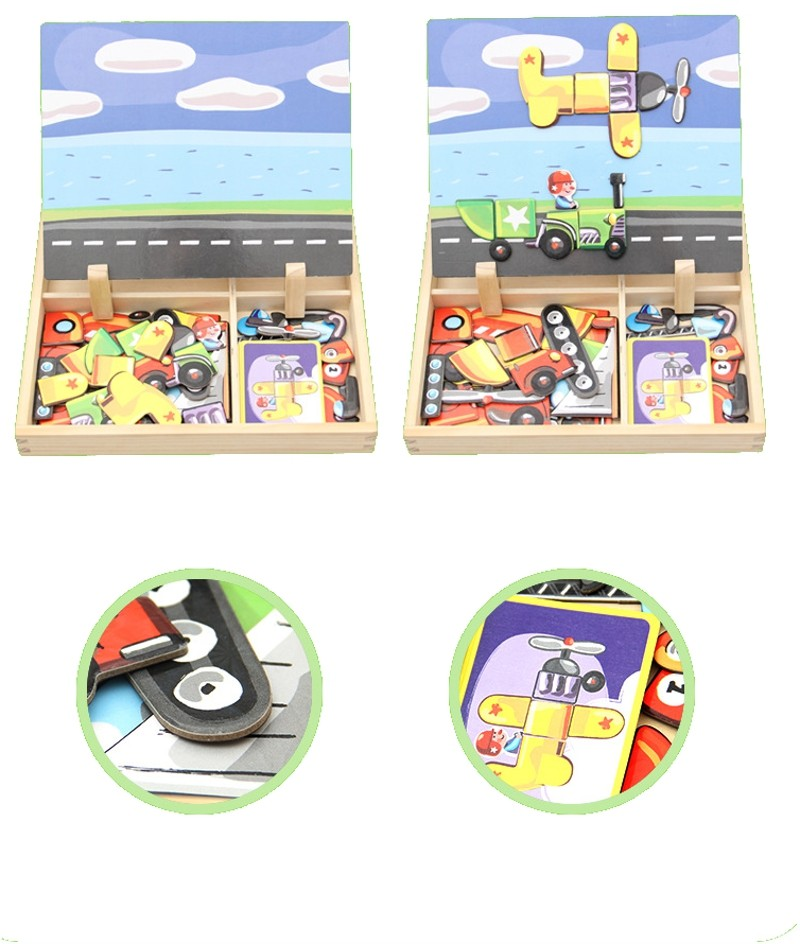 Magnetic Puzzle Picket Whiteboard Drawing Multifunctional Child Gown Transportation Easel Board Arts Toys Youngsters Children Presents