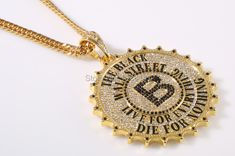 1pc free shipping 2015 new 18K Gold Plated Big Alloy gear Necklace Hiphop Bling Bling rock Necklace china HNP14(China (Mainland))