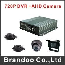 720P CAR DVR kit with 2 cameras recording, including DVR+1 inside camera+1 outside camera+2 video cables+64GB sd card