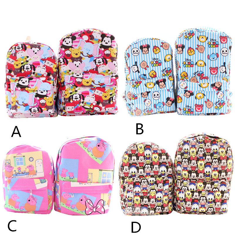 2017 New Cartoon Tsum Tsum Cartoon Printed Canvas Backpack To Travel and Leisure Bag Size Models Couple Backpack Free Shipping