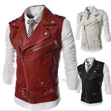 New 2014 fashion special supply personality zipper Lapel brief leather vest men's slim PU jacket man waistcoat(China (Mainland))
