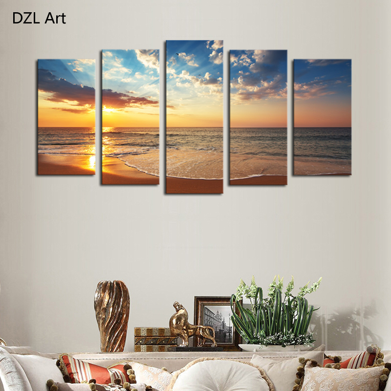 Hd Canvas Print Home Decor Wall Art Painting : Panels no frame seaview modern home wall decor painting
