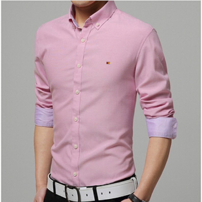 2015 Mens Shirts Elegant Long-sleeve Men Shirt Cotton Solid Slim Business&Casual Shirt Men camisa 7 Colors plus-size M-4XL(China (Mainland))
