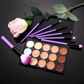 Free Shipping 15 color professional concealer palette for facial makeup cream palette 7 PCS makeup brush good for ladies girls