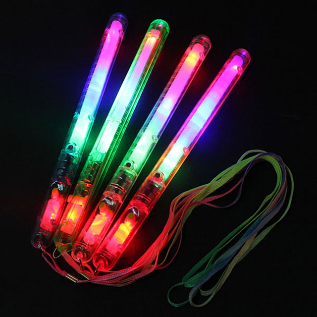 Multicolor Light-Up Blinking Rave Sticks LED Flashing Strobe Wands Concerts Party Glow