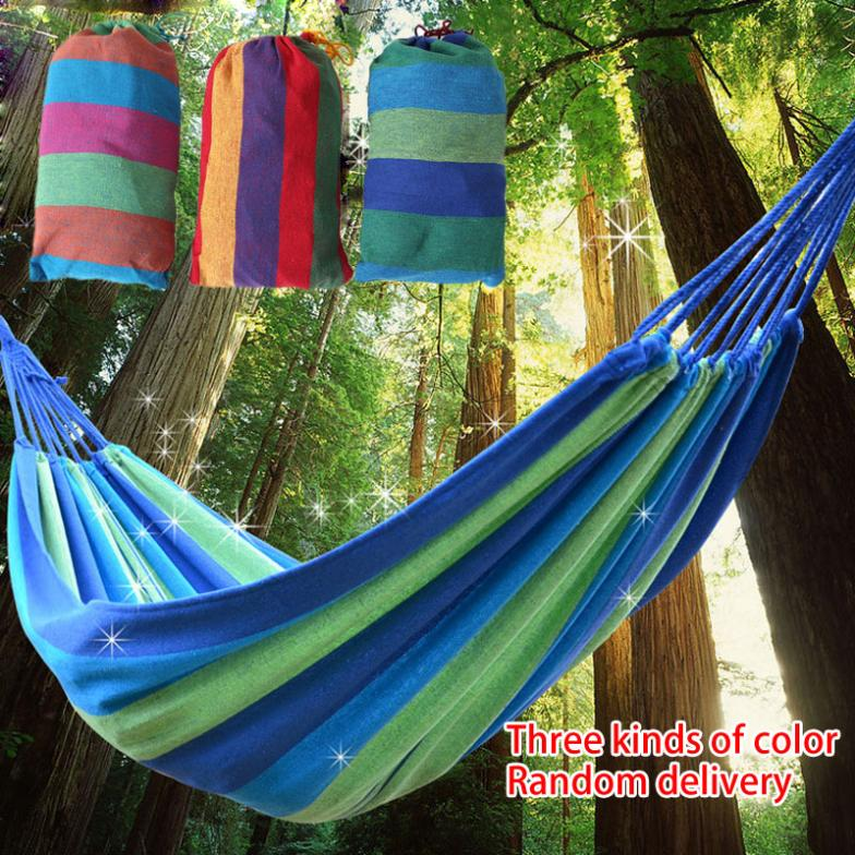 2015 Colorful Random delivery canvas Fabric camping bed for garden beach outdoor furniture hammock hammocks(China (Mainland))