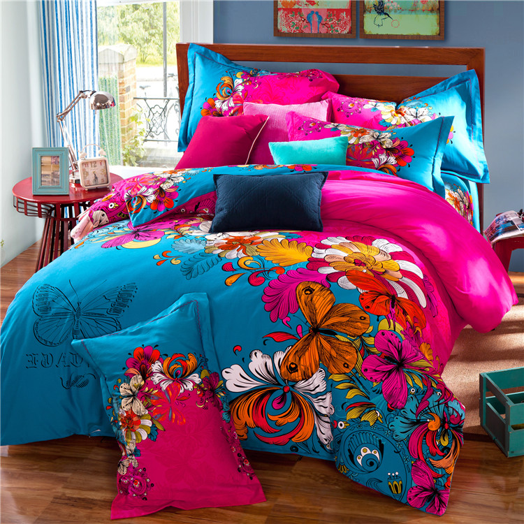 Colorful Butterfly and Flowers Bedding Set Cotton thick