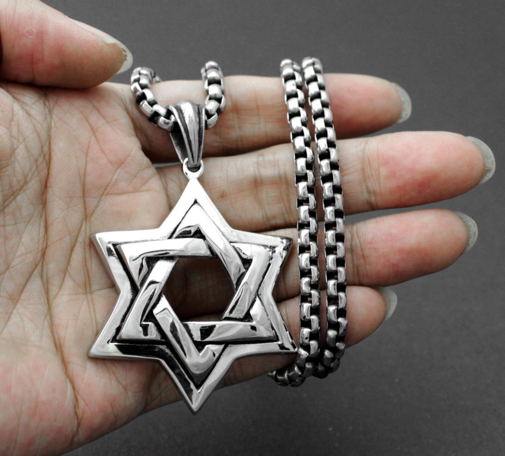 Buy jewish star of david mens pendant for Star of david necklace mens jewelry