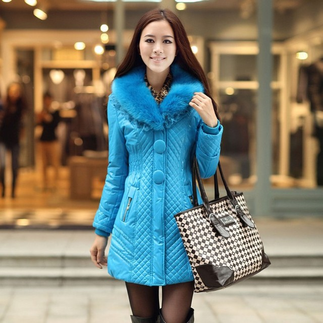 Free shipping 2013 winter new arrival  fur collar zipper slim thick solid women's cotton overcoats 0222882233