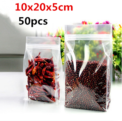 10x20x5cm 50pcs Small zip lock stand plastic pack food bag/Thicken transparent plastic packaging grains,spices,melon seeds pouch(China (Mainland))