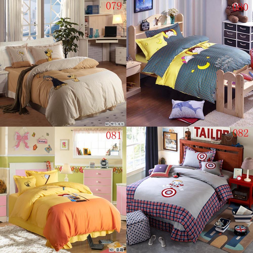 Cartoon Juvenile Double Cotton Bedding Set 4Pcs Duvet Cover Quilt Cover Sheets Pillowcase Back Cushion Cover Bedroom Bedclothes(China (Mainland))