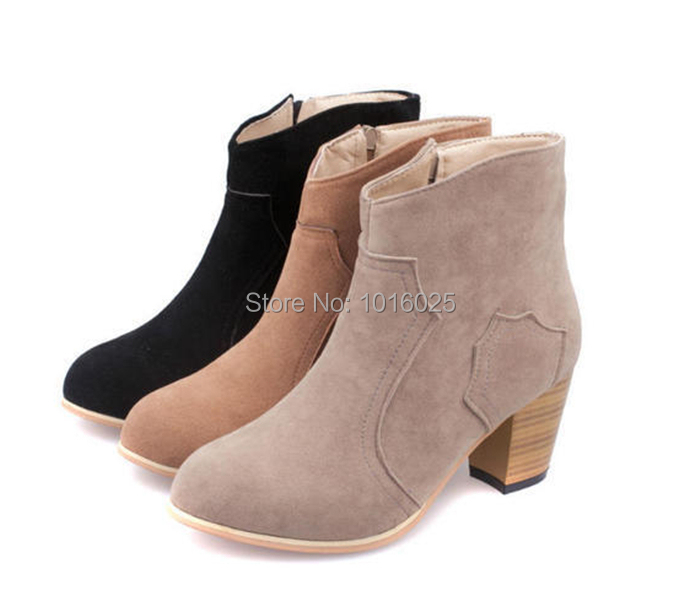 2013 autumn and winter scrub thick heel boots martin boots single boots cotton boots female