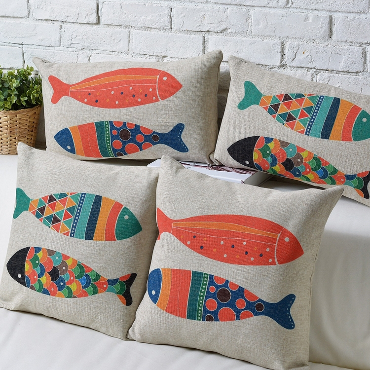 Creative decorative pillow case plain cotton canvas cartoon Zakka fish pattern fashion cushion covers Christmas shopping - ninety one store