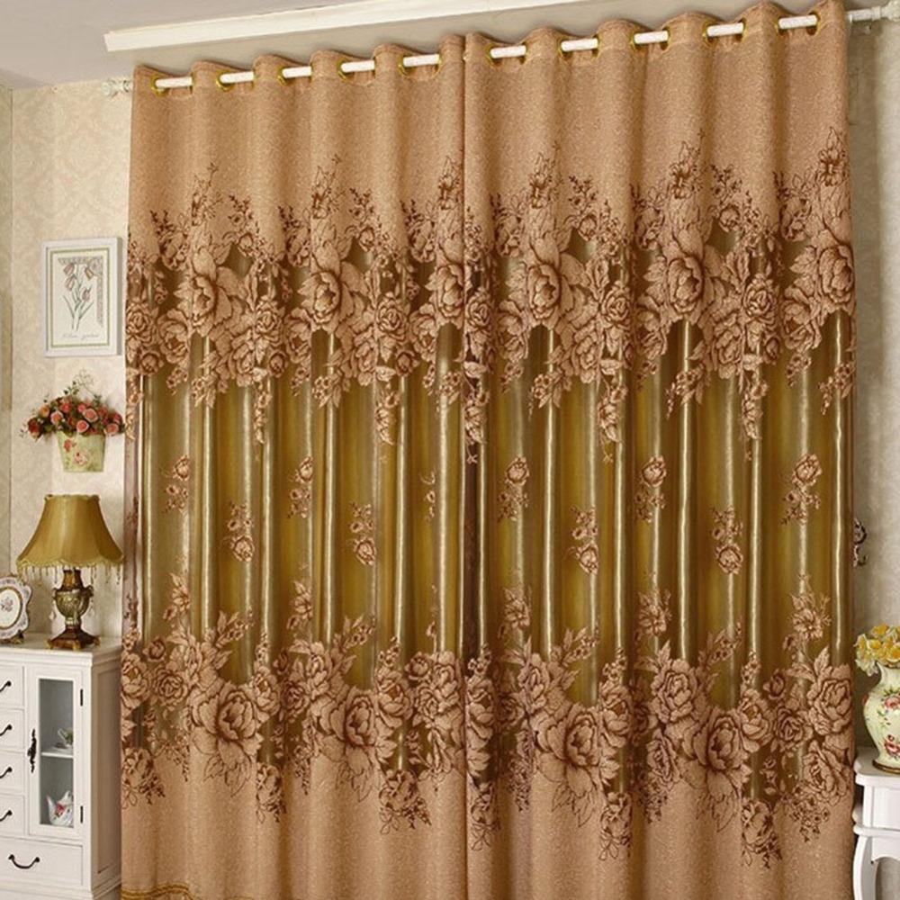 Living Room Drape Valances Window Purple/Yellow Curtain-in Curtains ...