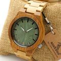 Bobobird M006 Mens Top Brand Design Green Wood Dial Full Bamboo Wooden Quartz Watches Japan 2035