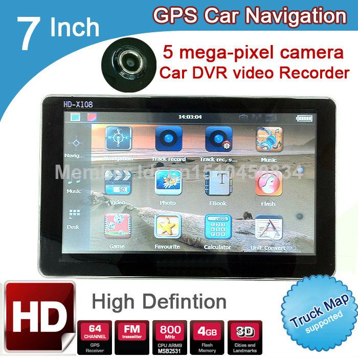 7 inch HD GPS Navigation Car DVR Recorder 720P 5 mega 2015 Maps Russia/Belarus/Kazakhstan Europe/USA Canada Vehicle/ TRUCK Navi(China (Mainland))
