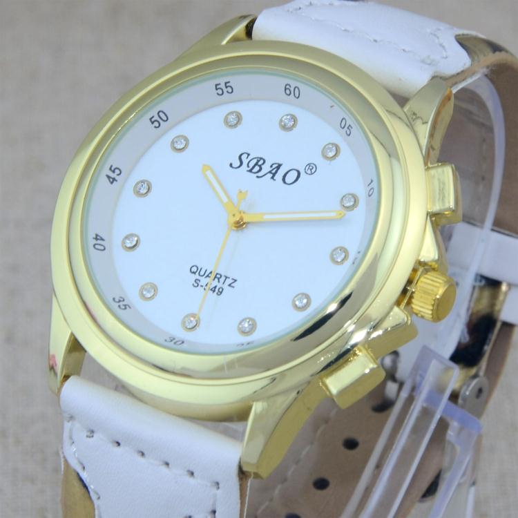 Color Stitching Strap Golden Dial Diamond Leopard Leather Band Women Quartz Wrist Watches - China happyshopping Co., Ltd. store