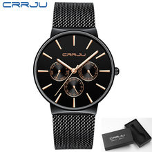 reloj hombre 2019 CRRJU Top Brand Luxury Men Watches Waterproof Ultra Thin Date Wrist Watch Male Mesh Strap Casual Quartz Clock(China)