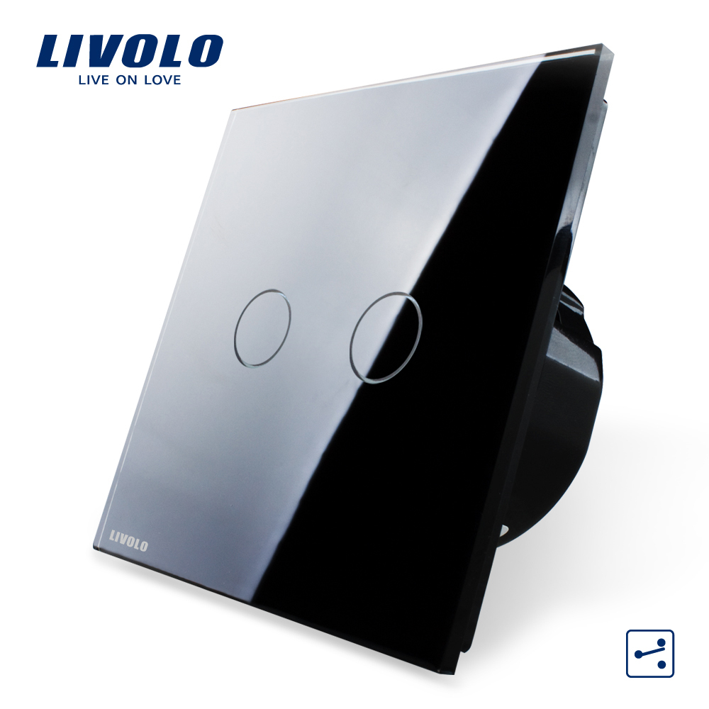 Гаджет  Free Shipping, Livolo EU standard,VL-C702S-12, 2 Gang 2 Way Control, Black Crystal Glass Panel, Wall Light Touch Screen Switch None Свет и освещение