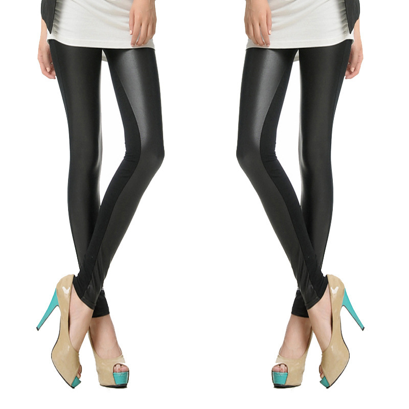 Women's Sexy Fashion front Faux Leather High Waist Skinny PU Leggings Pants,Plus Size Women - Superior product sale station store