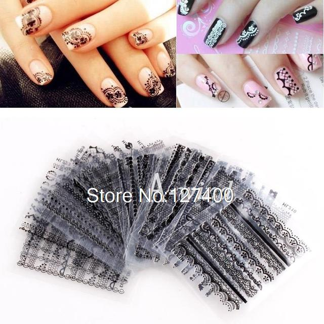 30sheets Mixed Black Lace Design 3D Flower Nail Art Stickers Decals For DIY UV Gel Polish Nail Tips Decoration nail sticker