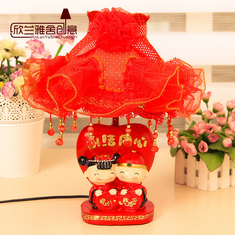 Free Shipping HGHomeart Creative wedding gift wedding room warm and stylish bedside lamp bedroom lamp Chinese red(China (Mainland))