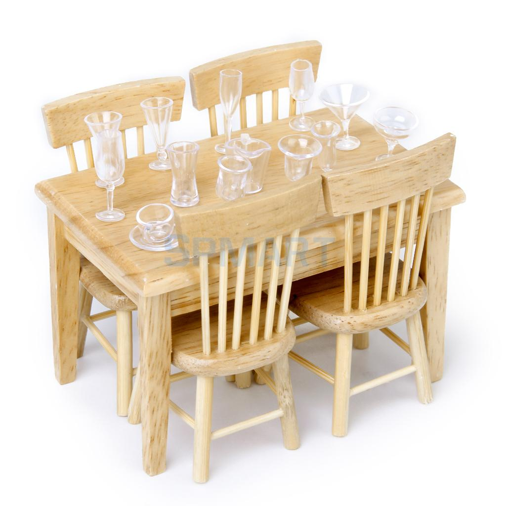 1:12 Dollhouse Miniature Wood Furniture Kits Dining Table & Chair & Deluxe Kitchen Cabinet Set