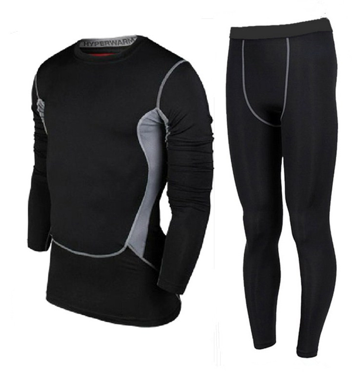 Pro tights long-sleeved pants suit of sports training workout clothes athletics basketball soccer uniform elastic base(China (Mainland))
