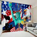 New European 3D Print Curtain USA Flag and Statue of Liberty Printing Thicken Full Blackout Child