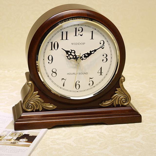 Newest Anique Style High Quality Tabletop Clock Super Mute Movement Quartz Clock Wooden Clock Music Chime Desktop Clock