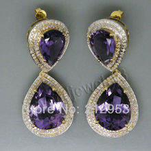 New Vintage Solid 14kt Yellow Gold Purple Amethyst Drop Earrings Diamond Amethyst Earring For Sale ER0002(China (Mainland))