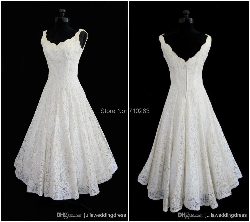Plus size 2016 new simple scoop neck a line tea length for Wedding dresses short length
